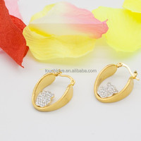 sapin jewelry hot sale bear full cubic zircon crystals charms 18k gold plated hoop earrings