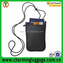 RFID travel passport holder wallet with adjustable lanyard