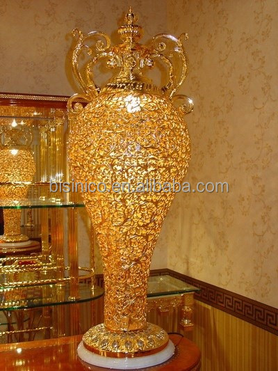 24k gold plated brass floor lamp in vase shapenouveau With gold vase floor lamp