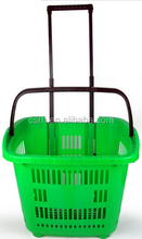 Rolling Trolley RH-BPR31 Plastic Folding Shopping Basket With Wheels