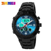 3atm Water Resistant Metal Band Quartz & Digital Wrist Watch