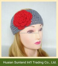 W-537 fall winter fashion girl handmade crochet headband ear warmer with flower