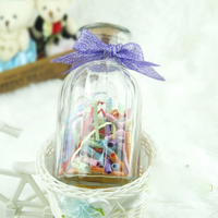 Clear Glass Art Deco Candy Jars/ Candle Holder/ Wishing Bottles with Cork Caps