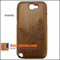factory shop supply butterfly/dargon wood/bamboo case/cover for Samsung galaxy N7100