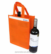NON WOVEN 2 BOTTLE BAG Short Handles Divider in the Middle with Front Pouch
