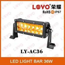 12 volt led amber led light bar 36W driving offroad light waterproof used amber light bars