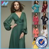 Yihao Trade Assurance Women casual long sleeve maxi dress summer 2015 sexy v-neck party dress plus size women clothes