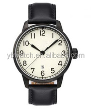 2015 top quality analog watch automatic mechanical watch leather band for pilot
