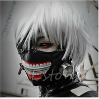 Cartoon Cosplay Masks Tokyo Ghoul Kaneki Ken Adjustable Zipper Faux Leather Mask