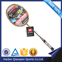 High quality badminton racket3200C, black and yellow, all-in -one racquet,carbon and aluminium, strung, attack type,
