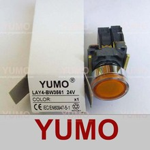 LAY4 NO NC 130V 220-240v Direct bulb supplierd neon LED BA9S yellow push button switch wireless push button