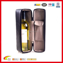 Custom Made Zippered Leather Wine Bottle Holder with Carrying Handle for One Bottle