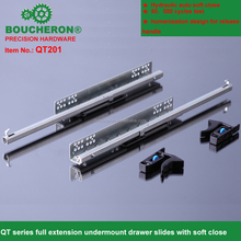 partrial extension concealed drawers slides with hydraulic soft close as silent system,hettich soft close drawer slides