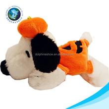 Cute dog with plush pumpkin toy fashion halloween day gift stuffed soft custom cheap dog plush toy