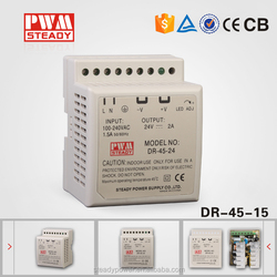 Good quality 2.8a dinrail model switch power 45w 15v ac dc power supply