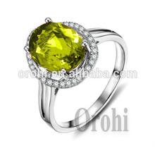 2015 productos de moda hombres anillo de plata esmeralda oval de piedras preciosas cz anillo de venta al por mayor en hg366er