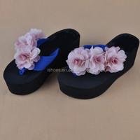 Women cotton wide strap eva high heel flip flops