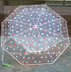 Cheap clear white with red polka dots printed fold poe umbrella