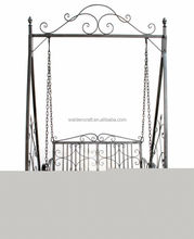 Garden Wrought Iron Swing Seat Outdoor Patio Garden Hammock Bench-Grey