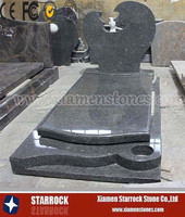 European Style and Memorial Usage Cheap Dark Green Granite Headstone