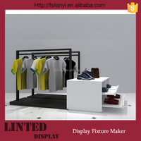 retail store wood display stand with metal clothes rack for men clothing shop