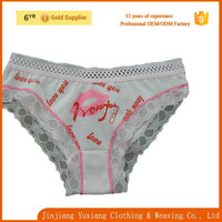 china factory lovely sexy white lace printing cotton panty child girl