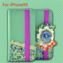 2015 New Arrival Flower Style Jean Canvas Mobile Phone Leather Case for iphone 5s