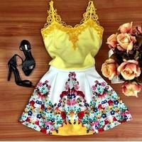 C85590A Summer lady lace sleeveless beach dress/Europe and America harness dress/summer sling dress