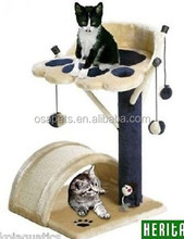 wholesale cat tree wood and plush pet toy cat tree