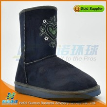 delicate dark blue embroidery boot discount snow boots