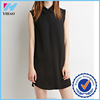 Yihao Women New Fashion Elegant sleeveless solid color dress shirt design Chiffon casual loose Dress 2015 summer wholesale