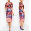 floral printeddress mix colour multi wrap short sleeve midi women dress