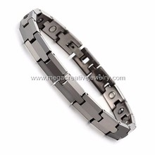 Silver Color Magnetic Energy Tungsten Bracelet with Germanium Stones