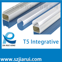 T5 LED aluminum integrative fixture with diffuser cover and cable for LED Fluorescent tube light