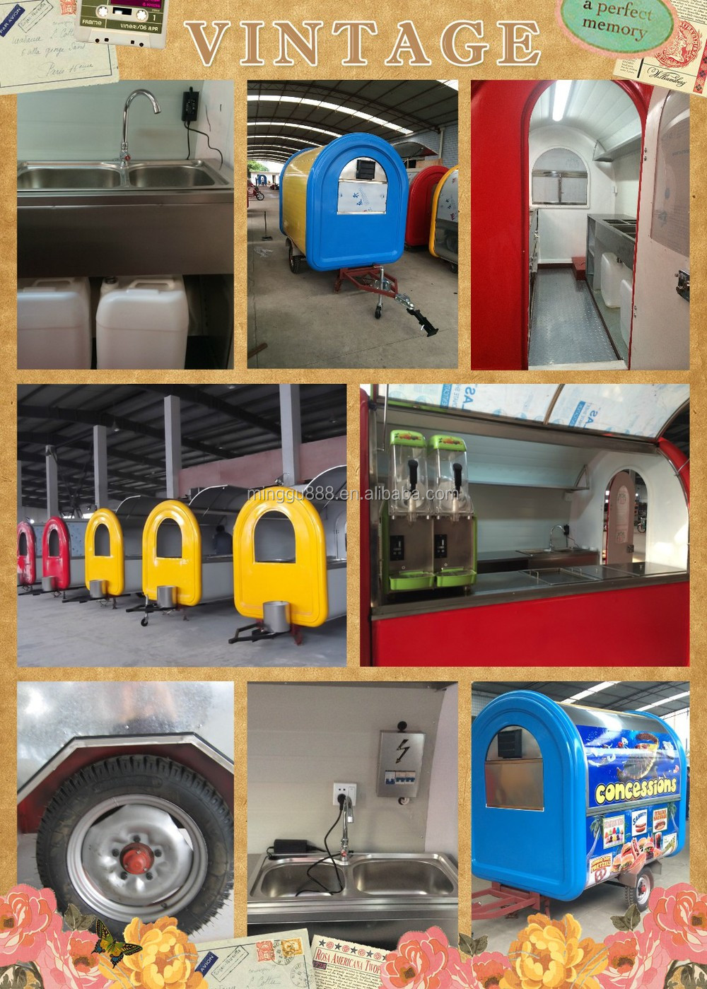 2015 new arrival stainless steel and FRP with big wheels food cart for sales mobile food vending