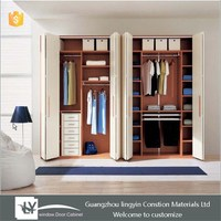 2015 new design solid wood folding wardrobe with 4 door for home furniture