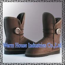 100% de la moda de piel de oveja botas para damas botas de nieve con el botton