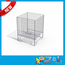 Folding Wire Dump Bin, Adjustable Floor / Wire dump bin display - Square Zinc