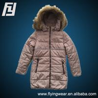 Big Girls' Padding Jacket with Detachable Fur Hood