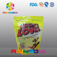 stand up 500 gram snack food ziplock bags/erect standing coffee bean 1kg bags