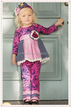 yowo wholesale girls chevron pant set dress matching ruffle pants brand name kids clothes damask funny baby clothes