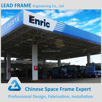 Steel prefab gas station with space grid frame roof structure