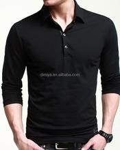 black long sleeve polo shirt cotton elastane