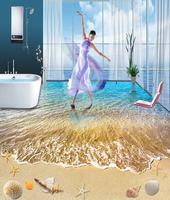 Dancing on the beach of your home sand and beach 3d floor mural girls wall large size fabric floor mural customize