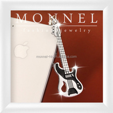 ip635-1 Monnel Silver Music Crystal Black Enamel Guitar Universal 3.5mm Jack Anti Dust Plug Stopper Cover Charm for Cell Phone