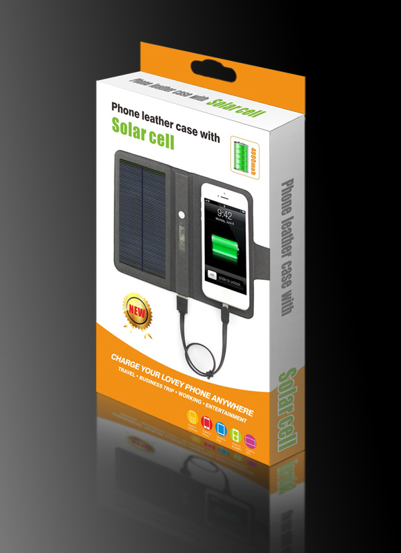 Travelling charging phone 1400 mAH solar cell battery mobile phone leather case