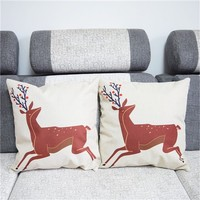 Colorcasa home textile deers patterned pillowcase cotton fabric pillow cover decorative item for bed&sofa(ETH123)