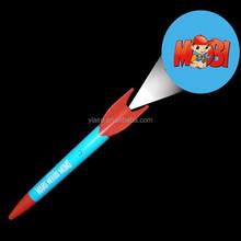 Plastic rocket shape promotional led light projector ballpoint pen