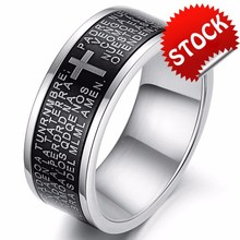 Wholesale Fashion Jewelry Titanium 316L Stainless Steel Cross Bible Promise Men Wedding Lovers Rings