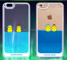Korean Style 3d liquid rubber duck fish dolphin swimming floating phone cases&covers for iphone 6/6pluse/5s/5/4s/4 for Samsung